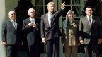 (L-R) Jordan's King Hussein, Israeli Prime Minister Yitzhak Rabin, US President Bill Clinton, PLO Chairman Yasser Arafat and Egyptian President Hosni Mubarak tour the White House Rose Garden
