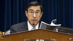Rep Darrell Issa speaks at a House Oversight Committee hearing 20 June 2012