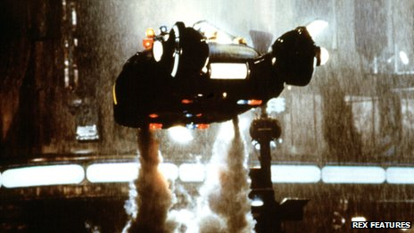 Flying car in scene from Blade Runner