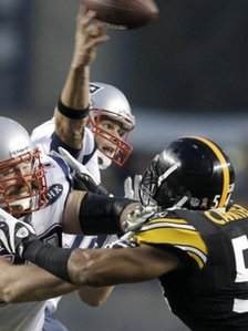New England Patriots tackle Pittsburgh Steelers lineback Chris Carter