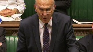 Vince Cable announces plans to parliament