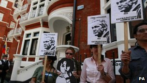 Protesters at Ecuadorian embassy