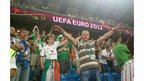 Irish fans inside the stadium in Poznan