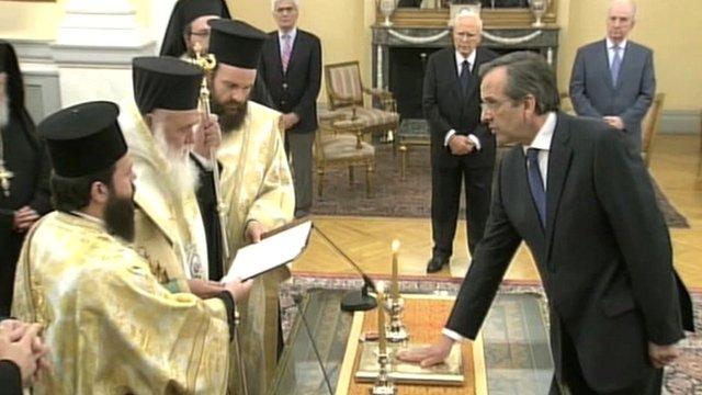 New Democracy leader Antonis Samaras sworn in as prime minister