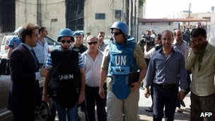 UN monitors in Haffa, 14 June