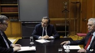 Leaders of Greece's three-party coalition. Photo: 20 June 2012