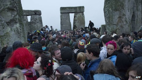 Crowds at Stonehenge on Thursday morning