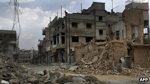 Damage in Qusayr, south-west of Homs. 20 June 2012