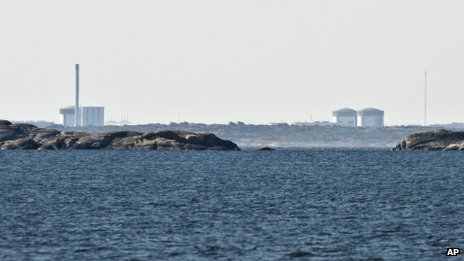 A landscape view of the Ringhals nuclear power station on the southwest coast of Sweden