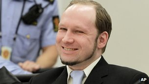 Anders Behring Breivik in court in Oslo, 21 June
