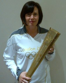 Julie with her torch