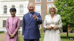 Ms Suu Kyi, Prince Charles and Camilla