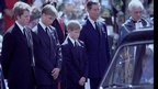Prince William, second from left, at Diana's funeral