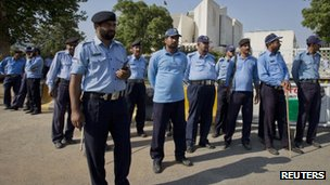 Police outside the Supreme Court in Islamabad