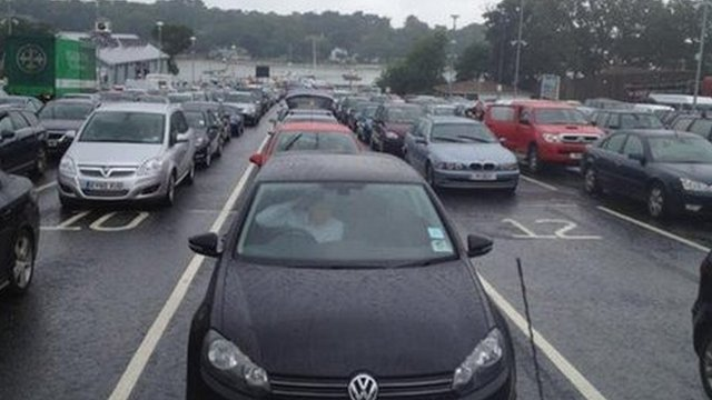 Traffic gridlock at the Fishbourne ferry terminal on the Isle of Wight