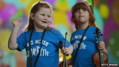 Children from the Raploch estate Big Noise orchestra play in Stirling