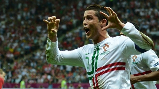 Cristiano Ronaldo celebrates scoring against the Czech Republic