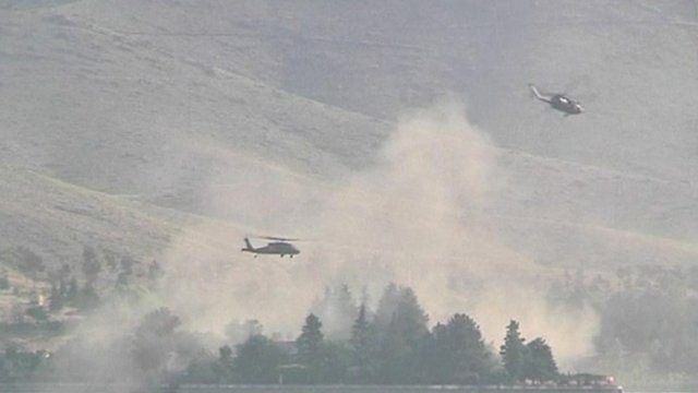 Helicopters over Lake Qargha