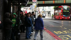 People waiting for a bus at Finsbury Park