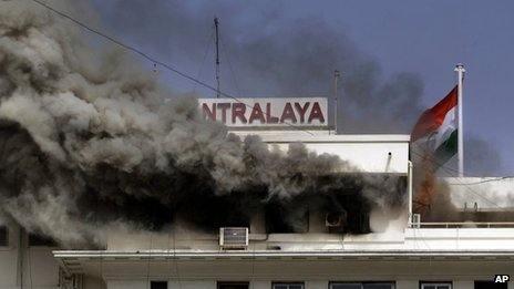 Smoke from the burning Mantralaya building, which houses the Maharashtra state secretariat, on June 21, 2012.
