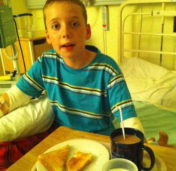Sam in hospital after his Type 1 diabetes was diagnosed
