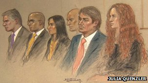 Court drawing of Rebekah Brooks (r) and her husband Charlie, with Mark Hanna, head of security at News International, security consultant Daryl Jorsling, Mrs's Brooks's PA Cheryl Carter and Paul Edwards, Mrs Brooks's chauffeur, at Southwark Crown court