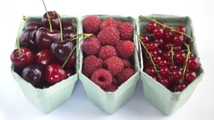 Cherries, raspberries and red currants