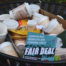 Strike leaflet in bin