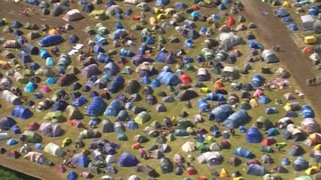 Tents in the mud at the Isle of Wight Festival