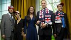 David and Victoria Beckham, the Duchess of Cambridge and Prince William and Prime Minister David Cameron are pictured wearing England supporters' hats, scarves and flags