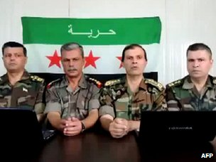 Screengrab of a video purportedly showing four senior Syrian army officers announcing their defection to the opposition (22 June 2012)