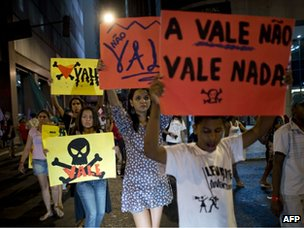 Protest in Rio against the mining company Vale