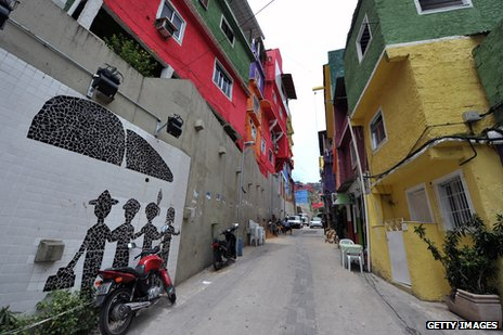 One of the new paved streets in the favela
