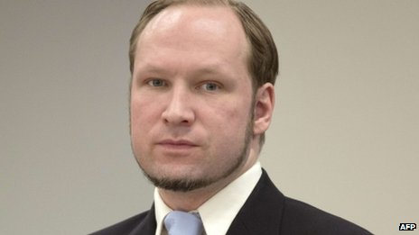 Anders Behring Breivik arrives on the last day of his trial in room 250 of Oslo's central court on 22 June