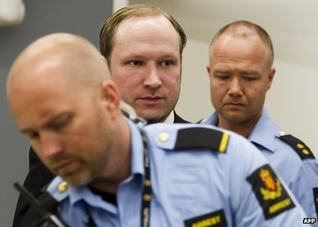 Anders Behring Breivik arrives in court in Oslo, 22 June