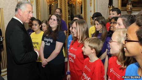 Prince Charles meets members of WNO's Singing Club - photo by Paul Burns
