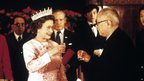File photo dated 13/10/1986 of Queen Elizabeth II and President Li Xiannian drinking a toast at a banquet in Beijing. The Queen was the first British Monarch to ever visit mainland China. PRESS ASSOCIATION Photo. Issue date: Sunday May 20, 2012. See PA story ROYAL Jubilee 1980s. Photo credit should read: Ron Bell/PA Wire