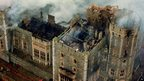 An aerial view of Windsor Castle showing the damage caused by the fire of 20/11/1992.