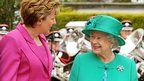 Queen Elizabeth II with Irish President Mary McAleese after arriving at Aras an Uachtarain in Phoenix Park.