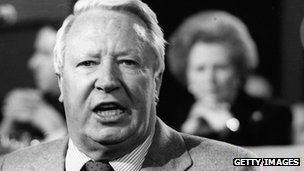 Edward Heath with Margaret Thatcher in the background