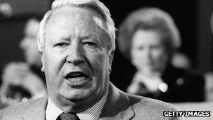 Edward Heath with Margaret Thatcher in the background