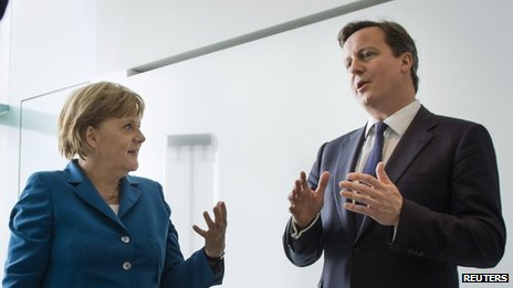 Chancellor Merkel talks to British PM David Cameron in Berlin on 7 June