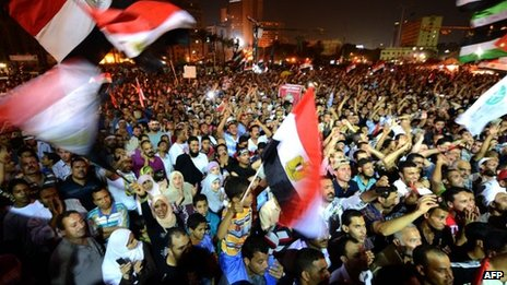 Supporters of Mohammed Mursi in Tahrir Square on Thursday
