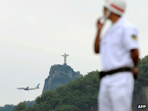 Brazilian Navy soldier stands guard in Rio