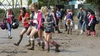 Mud at the campsite at the Isle of Wight Festival