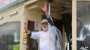 Peter Cunningham took the Olympic flame on the Blackpool Tramway