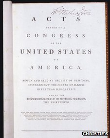 First page of George Washington's constitution