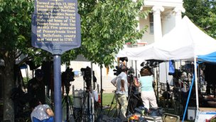 Media stakeouts in fron of the courthouse in Bellefonte, Pennsylvania 22 June 2012