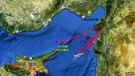 Syrian state television graphic showing flight path of downed Turkish jet