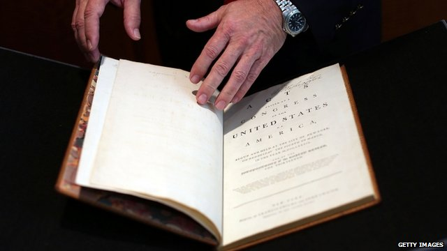 George Washington's signature is in the top right hand corner of the book